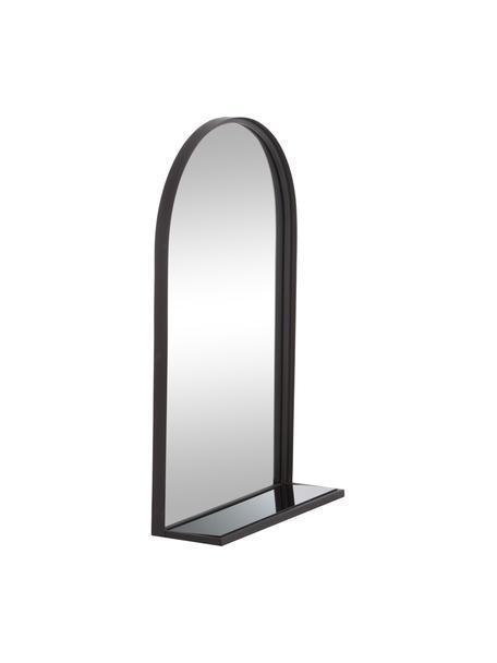 Wandspiegel Grisell mit schwarzem Metallrahmen und Ablagefläche, Rahmen: Metall, beschichtet, Ablagefläche: Glas, Spiegelfläche: Spiegelglas, Schwarz, 46 x 77 cm