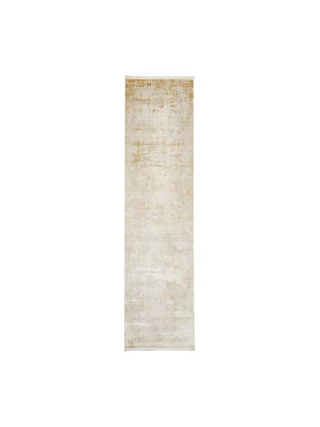 Alfombra con flecos Cordoba, estilo vintage, Parte superior: 70%acrílico, 30%viscosa, Reverso: 100%algodón, Tonos beige, An 80 x L 300 cm