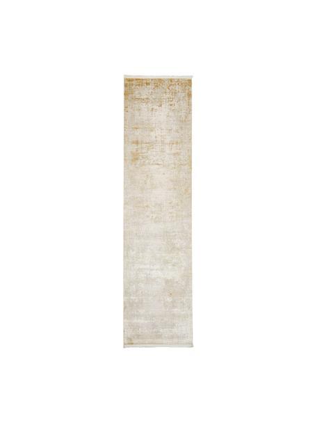 Glanzende loper Cordoba in beigetinten met franjes, vintage stijl, Bovenzijde: 70% acryl, 30% viscose, Onderzijde: katoen, Beigetinten, 80 x 300 cm