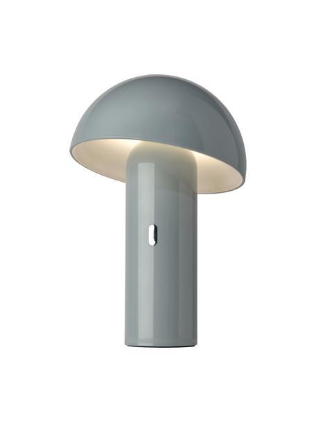 Kleine mobiele dimbare tafellamp Svamp, Lampenkap: kunststof, Lampvoet: kunststof, Grijs, Ø 16 x H 25 cm