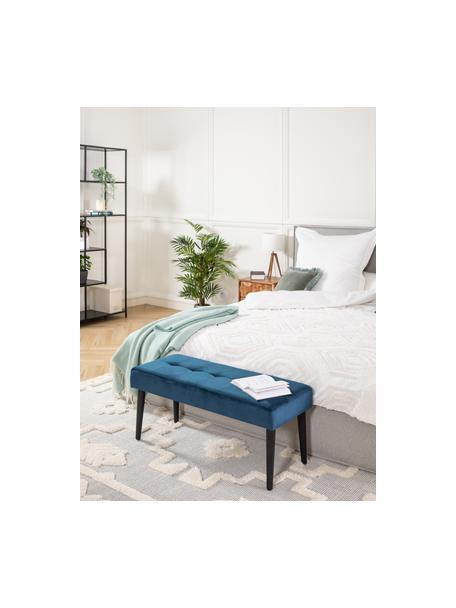 Fluwelen bank Glory, Bekleding: polyester fluweel, Frame: gepoedercoat metaal, Blauw, zwart, 95 x 45 cm