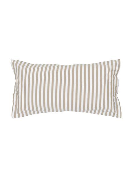 Gestreifte Baumwollperkal-Kissenbezüge Yuliya, 2 Stück, Webart: Perkal Fadendichte 180 TC, Taupe, Weiß, 40 x 80 cm