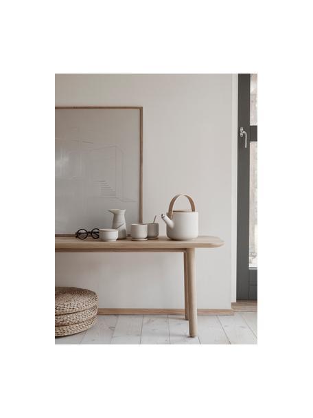 Keramische theepot Theo in mat wit, 1.25 L, Pot: keramiek, Gebroken wit, bamboekleurig, 1.25 L