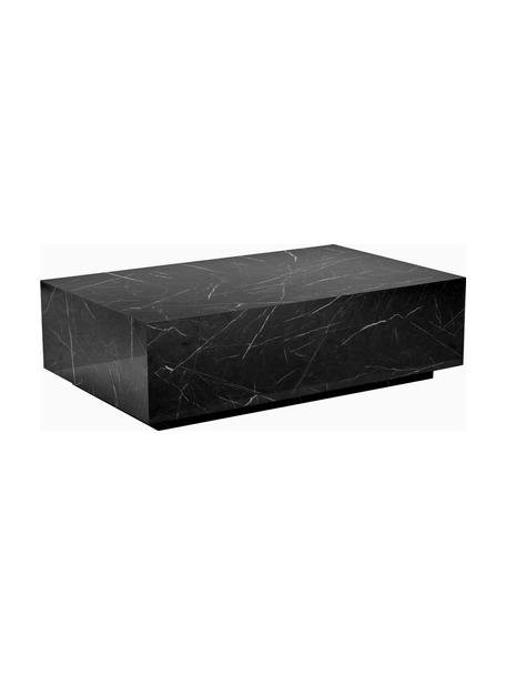 Tavolino da salotto vuoto effetto marmo Lesley, Pannello di fibra a media densità (MDF) rivestito con foglio di melamina, Nero marmorizzato lucido, Larg. 120 x Alt. 35 cm