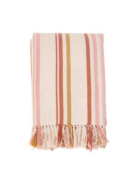 Copriletto in cotone a righe Juarez, 100% cotone, Color crema, giallo, rosa, Larg. 180 x Lung. 260 cm (per letti da 140 x 200)