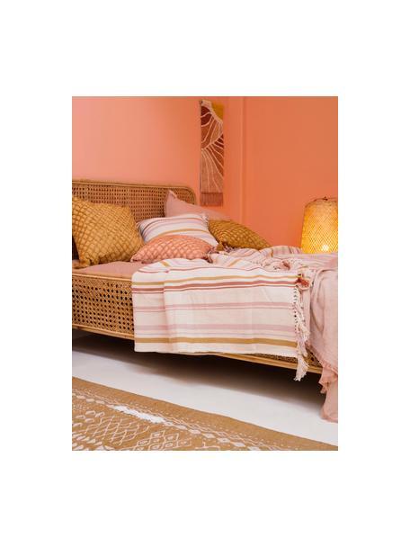 Gestreifte Tagesdecke Juarez aus Baumwolle, 100% Baumwolle, Cremefarben, Gelb, Rosa, B 180 x L 260 cm (für Betten bis 140 x 200)