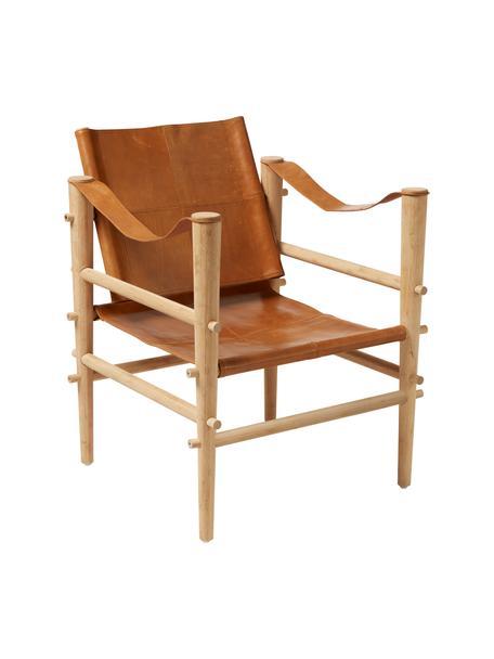 Leder-Sessel Noble mit Bambusgestell, Gestell: Bambus, karbonisiert (hit, Bambus, Hellbraun, B 61 x T 59 cm