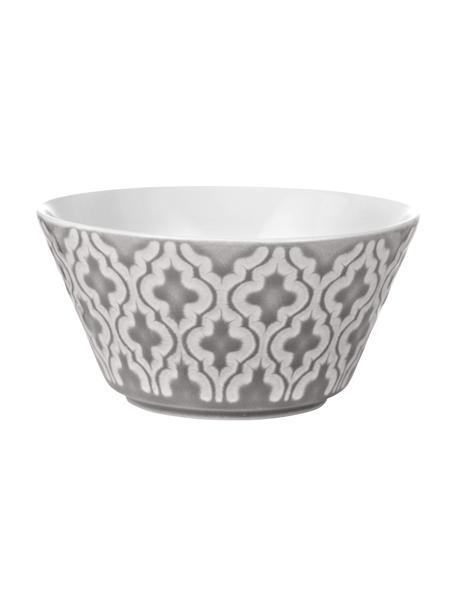 Kommen Abella Ø 12 cm in grijs/wit met structuurpatroon, 4 stuks, Keramiek, Grijs, wit, Ø 12 x H 7 cm