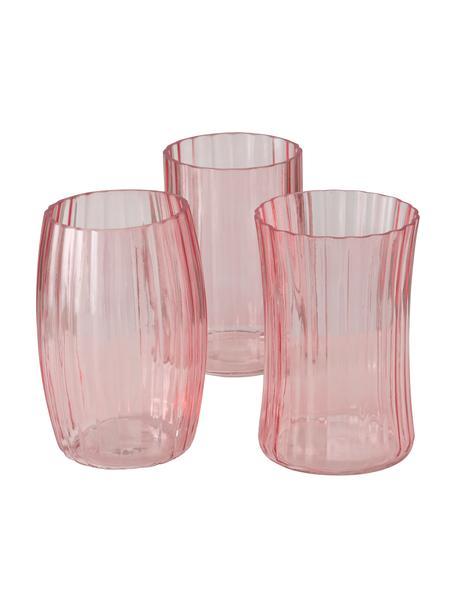 Glazen vazenset Malinia, 3-delig, Glas, Roze, transparant, Ø 13 x H 19 cm
