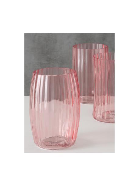 Set de jarrones de vidrio Malinia, 3pzas., Vidrio, Rosa, transparente, Ø 13 x Al 19 cm