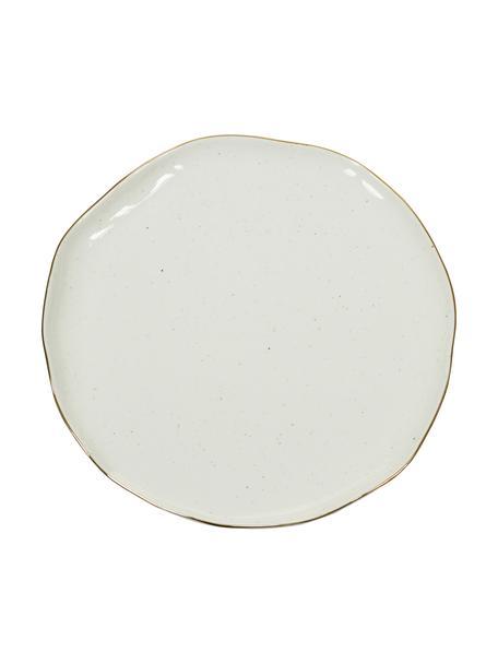 Handgemachte Speiseteller Bella mit Goldrand, 2 Stück, Porzellan, Cremeweiß, Ø 26 x H 3 cm