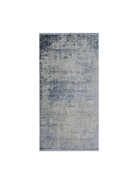 Schimmernder Teppich Cordoba mit Fransen, Vintage Style, Flor: 70% Acryl, 30% Viskose, Blau, Grau, B 80 x L 150 cm (Größe XS)