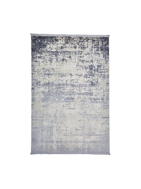 Glanzend vloerkleed Cordoba met franjes, vintage stijl, Bovenzijde: 70% acryl, 30% viscose, Onderzijde: katoen, Blauw, grijs, B 80 x L 150 cm (maat XS)