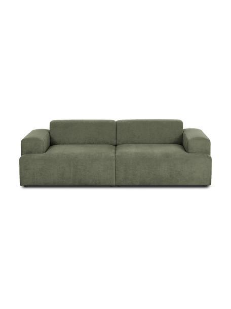 Ribfluwelen bank Melva (3-zits) in groen, Bekleding: corduroy (92% polyester, , Frame: massief grenenhout, FSC-g, Poten: kunststof, Corduroy groen, 238 x 101 cm