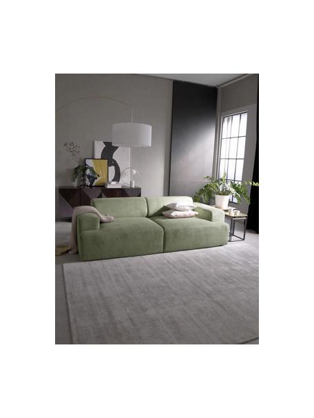 Sofa ze sztruksu Melva (3-osobowa), Tapicerka: sztruks (92% poliester, 8, Stelaż: lite drewno sosnowe, cert, Nogi: tworzywo sztuczne, Sztruksowy zielony, S 238 x G 101 cm