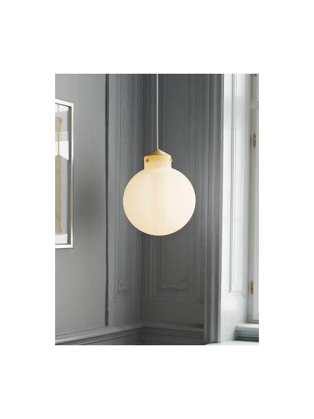 Lámpara de techo de vidrio Raito, Pantalla: vidrio opalino, Anclaje: plástico, Cable: cubierto en tela, Blanco opalino, latón, Ø 30 x Al 37 cm
