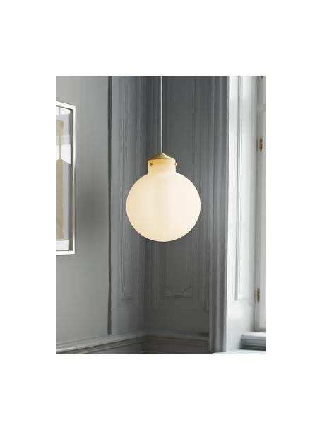 Pendelleuchte Raito aus Glas, Lampenschirm: Opalglas, Dekor: Metall, Baldachin: Kunststoff, Opalweiß, Messingfarben, Ø 30 x H 37 cm