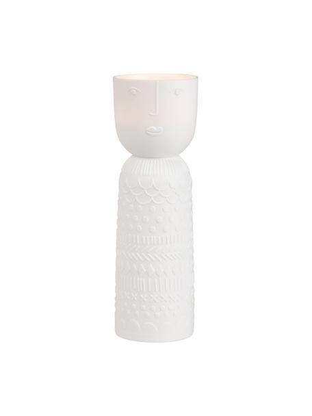 Porzellan-Teelichthalter Lucia in Weiß, Porzellan, Weiß, Ø 6 x H 18 cm
