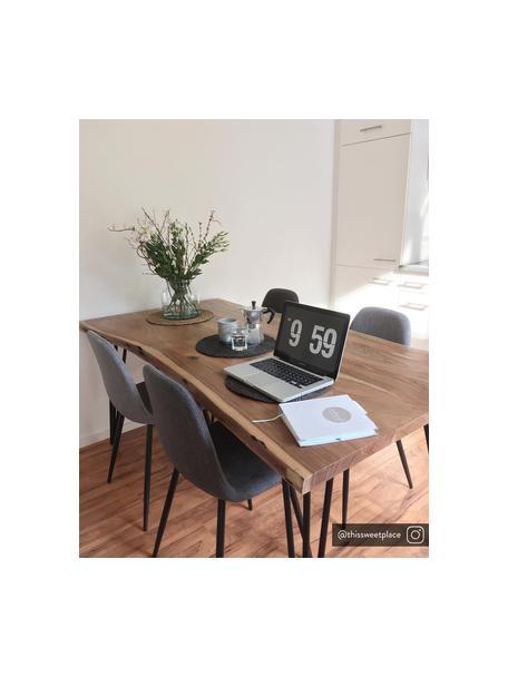 Gestoffeerde stoelen Karla, 2 stuks, Bekleding: 100 % polyester, Poten: metaal, Geweven stof lichtgrijs, B 44 x D 53 cm