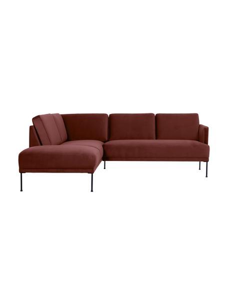 Sofa narożna z aksamitu z metalowymi nogami Fluente, Tapicerka: aksamit (wysokiej jakości, Stelaż: lite drewno sosnowe, Nogi: metal malowany proszkowo, Aksamitny rdzawoczerwony, S 221 x G 200 cm