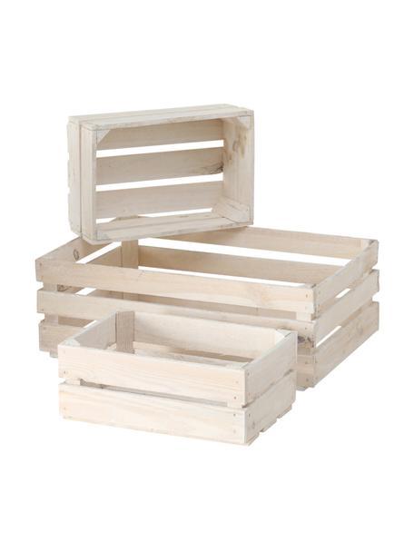 Komplet skrzynek do przechowywania Porto, 3 elem., Drewno jodłowe, Biały, Komplet z różnymi rozmiarami