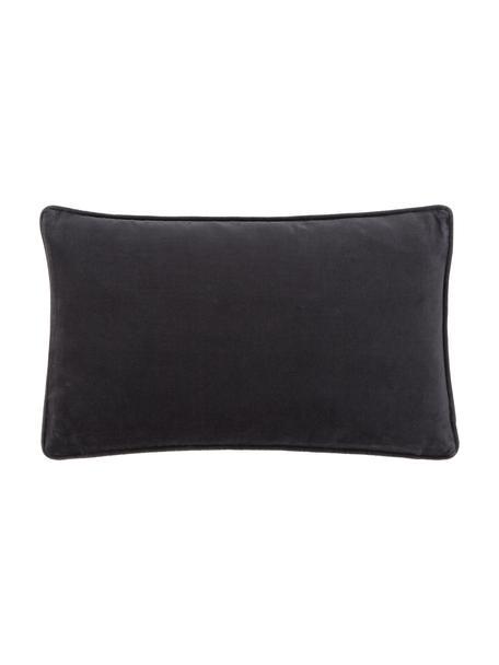 Effen fluwelen kussenhoes Dana in antraciet, 100% katoenfluweel, Zwart, 30 x 50 cm