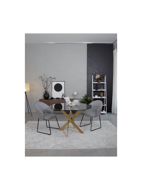 Armstoel Mitzie, Bekleding: polyester De bekleding is, Poten: gelakt metaal, Lichtgrijs, zwart, B 57 x D 59 cm