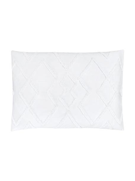 Funda de almohada texturizada de percal Faith, Blanco, An 50 x L 70 cm