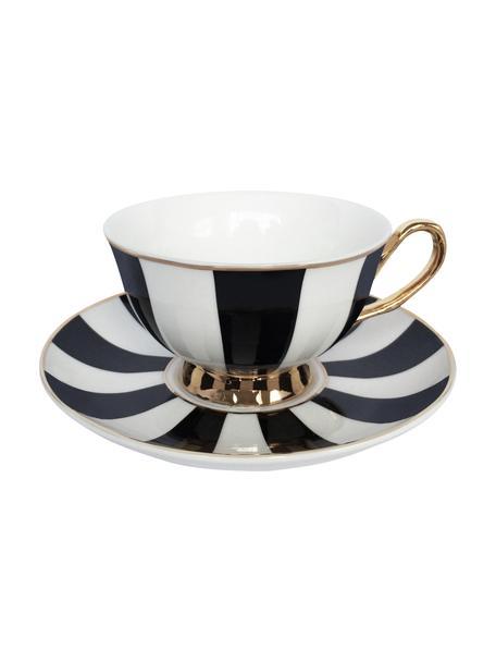 Kop en schotel Stripy, 2-delig, Verguld beenderporselein, Zwart, wit. Rand en oortje: goudkleurig, Ø 15 x H 6 cm