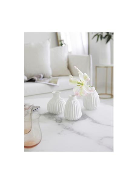Komplet małych wazonów z porcelany Esko, 3 elem., Porcelana, Biały, Komplet z różnymi rozmiarami