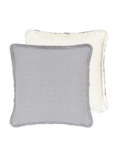 Federa arredo reversibile color grigio chiaro con frange Loran, 100% cotone, Grigio, Larg. 40 x Lung. 40 cm