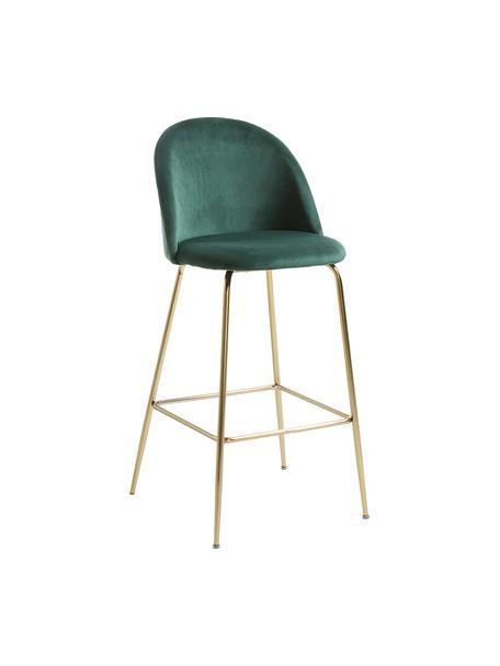 Krzesło barowe z aksamitu Ivonne, Tapicerka: aksamit poliestrowy, Stelaż: metal lakierowany, Ciemnyzielony, odcienie złotego, S 53 x W 108 cm