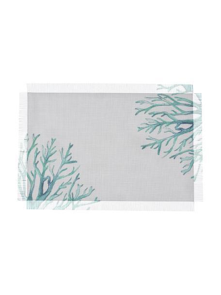 Manteles individuales Estran, 2uds., Poliéster, Blanco, turquesa, An 30 x L 45 cm