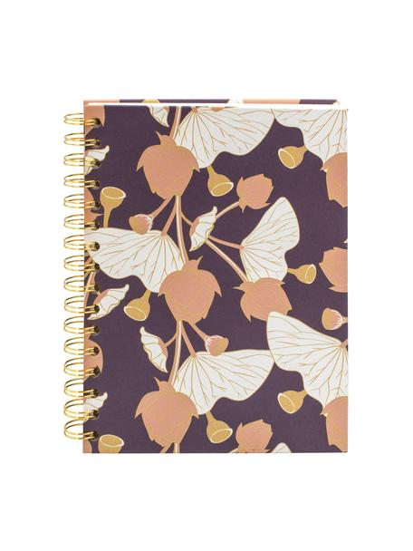 Cuaderno Lotus, Lila, rosa, amarillo, blanco, An 16 x Al 21 cm