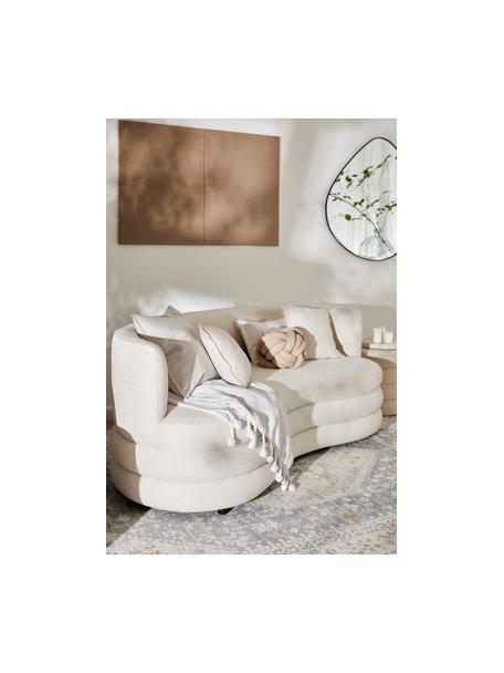 Designer bank Solomon (3-zits) in beige, Bekleding: 56% viscose, 21% polyeste, Frame: massief sparrenhout, berk, Poten: kunststof, Geweven stof beige, B 200 x D 95 cm