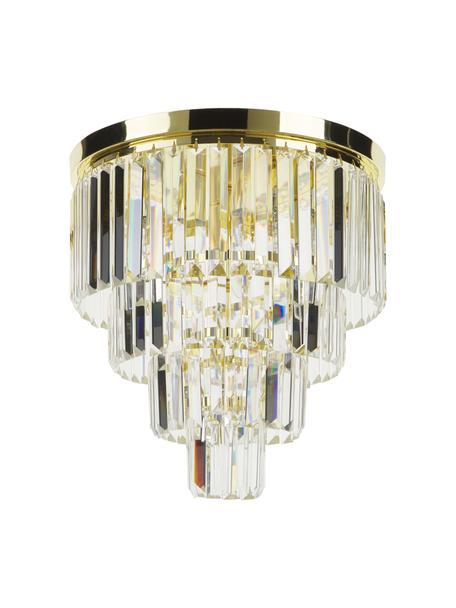 Kristall-Deckenleuchte Gracja in Gold, Lampenschirm: Glas, Goldfarben, Transparent, Ø 40 x H 40 cm