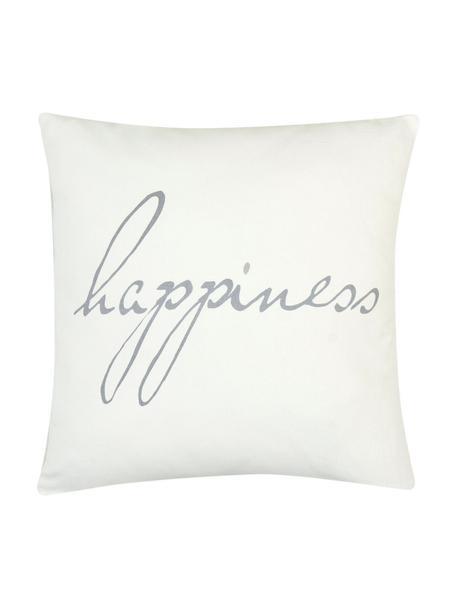 Kussenhoes Happiness met opschrift, 100% katoen, panamabinding, Grijs, crèmekleurig, 40 x 40 cm