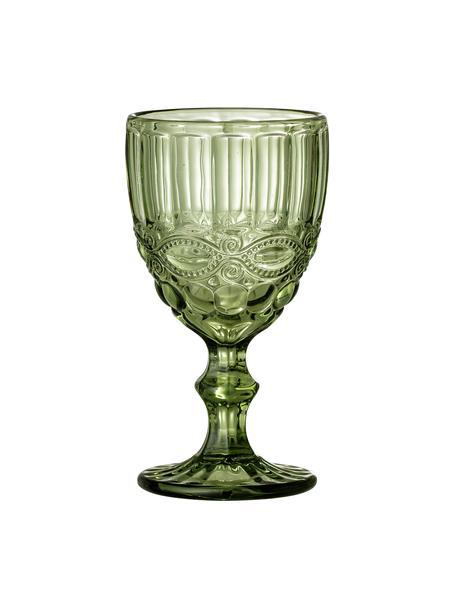 Copas de vino Florie, 4 uds., Vidrio, Verde, Ø 9 x Al 17 cm