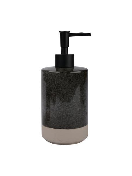 Seifenspender Grego aus Keramik, Keramik, Dunkelgrau, Beige, Schwarz, Ø 8 x H 19 cm