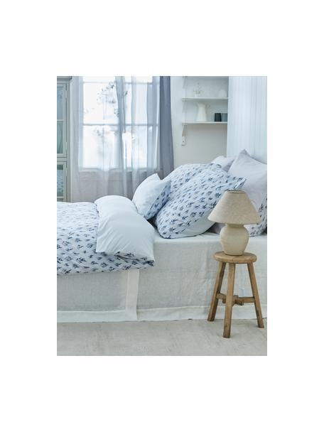Baumwoll-Bettwäsche Yane mit Blümchen/gestreift, Webart: Renforcé Fadendichte 144 , Blau, Weiß, 135 x 200 cm + 1 Kissen 80 x 80 cm