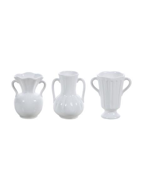 Komplet wazonów z ceramiki Mico, 3 elem., Ceramika, Biały, S 10 x W 12 cm