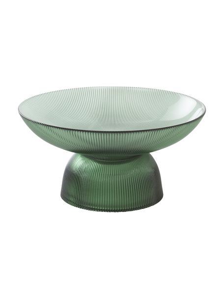 Glazen serveerschaal Amora met groefreliëf, Ø 26 cm, Glas, Groen, transparant, Ø 26 x H 13 cm