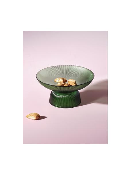 Fuente de vidrio Amora, Vidrio, Verde transparente, Ø 26 x Al 13 cm