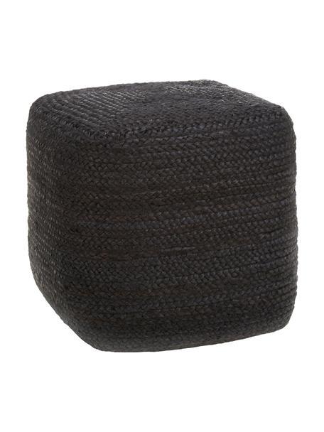 Puf artesanal de yute Bono, estilo boho, Tapizado: yute, Negro, An 45 x Al 45 cm