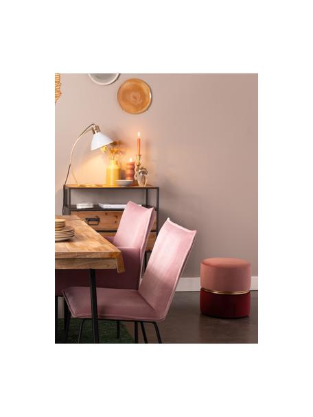 Puf de terciopelo Bubbly, Tapizado: terciopelo de poliéster 2, Estructura: tablero de fibra de densi, Rosa, rojo rubí, Ø 35 x Al 39 cm