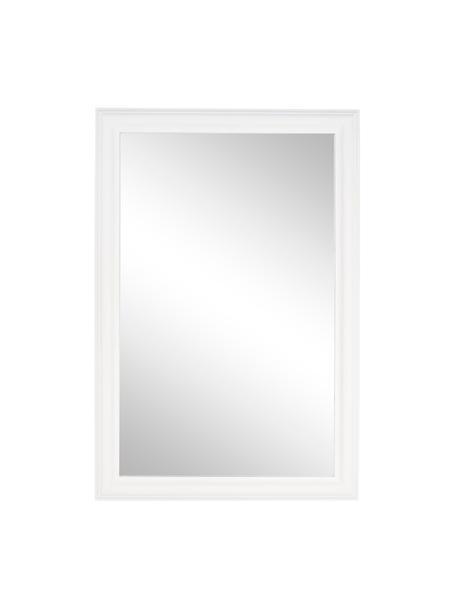 Specchio da parete quadrato con cornice in legno Sanzio, Cornice: legno, rivestito, Superficie dello specchio: lastra di vetro, Bianco, Larg. 60 x Alt. 90 cm