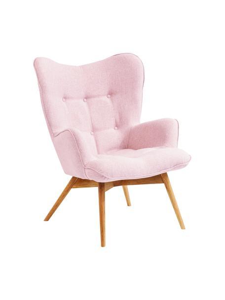 Fotel uszak Vicky, Tapicerka: 100% poliester, Nogi: drewno dębowe lakierowane, Stelaż: płyta wiórowa, stal, Różowy, S 73 x G 83 cm