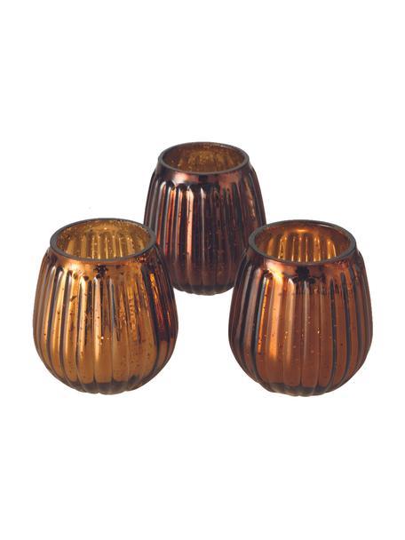 Komplet świeczników Alisa, 3 elem., Szkło, Odcienie brązowego, Ø 9 x W 9 cm