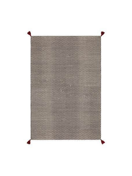 Tappeto in lana color nero/bianco tessuto a mano  con nappe rosse Tolga, 50% lana, 35% cotone, 15% nylon, Nero, bianco crema, Larg. 80 x Lung. 150 cm (taglia XS)