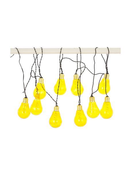LED lichtslinger Bulb, 360 cm, 10 lampions, Peertje: kunststof, metaal, Peertje: amberkleurig, goudkleurig. Snoer: zwart, L 360 cm